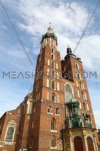 Church of Our Lady Assumed into Heaven (Saint Mary Church), a Brick Gothic church at Main Market Square in Krakow, Poland