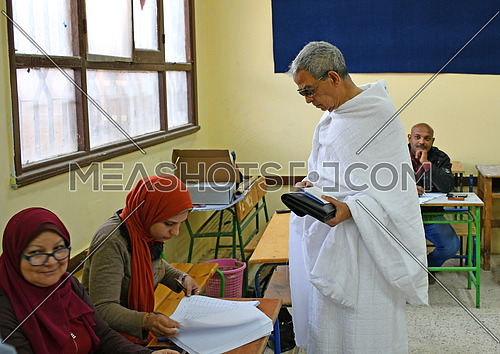 old egyption man During a vote in the Egyptian presidential election at 6th of October City 26 March 2018