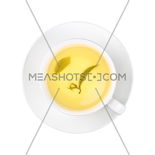 Close up one full white cup of green oolong tea with leaf, on saucer isolated on white background, elevated top view, directly above