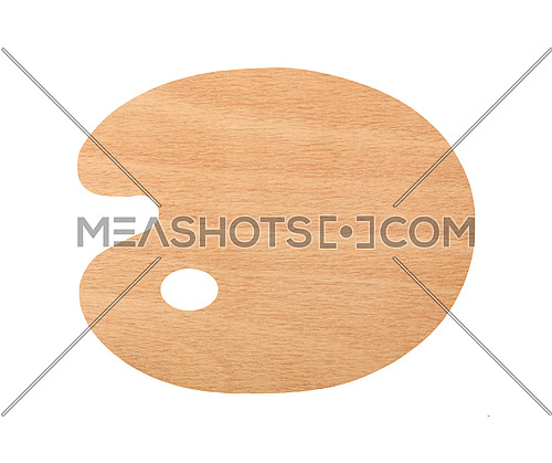 Close up of one clean blank wooden palette without paint isolated on white background
