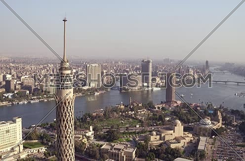 Aerial Shot for Cairo Tower at Cairo at Day