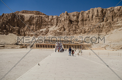 Extreme Long shot for The temple of Pharaoh Queen Hatshepsut in Luxor, Egypt at day