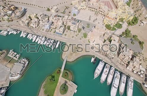 Drone shot flying above Al Gouna Marina  at Day