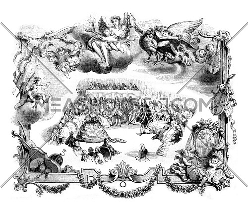 Court balls under the old monarchy, vintage engraved illustration. Magasin Pittoresque 1842.