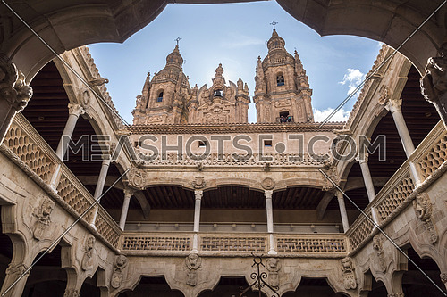 Salamanca, España: August 18, 2019: The University of Salamanca was founded in 1134. It is the oldest founded university in Spain and the third oldest university in the world, take in Salamanca, august 18, 2019