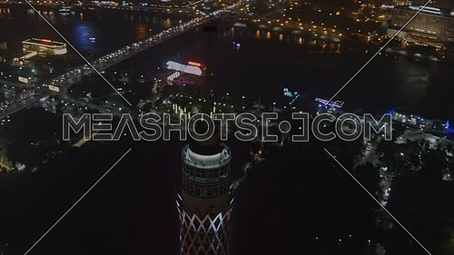 Ariel Shot fly around Cairo Tower Revealing Cairo City at night - Novermber 2018