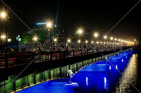 Zoom In Shot for Qasr Al Nile Bridge at Night