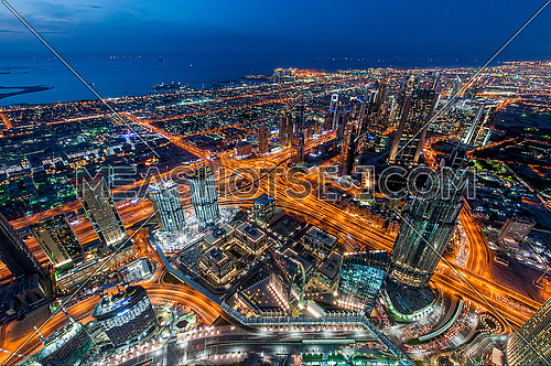 From the highest tower in the world Burj Khalifa and Sheikh Zayed Road