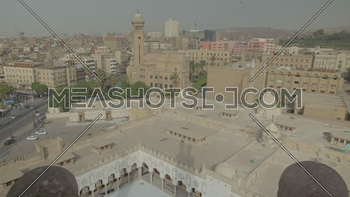 Pan Right Shot from Al-Azhar Mosque reveals Cairo City by day