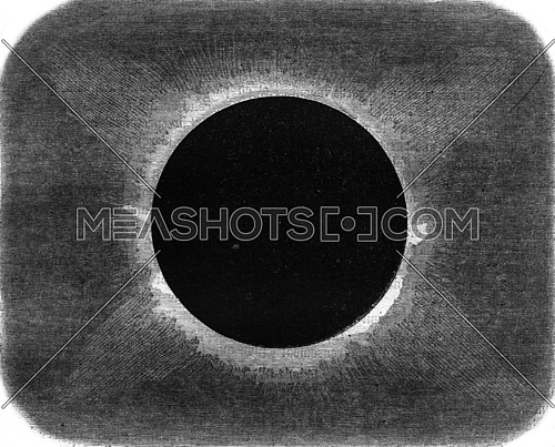 Appearance of the projections of the Sun during the total eclipse of August 18, 1868, in the peninsula of Malacca, vintage engraved illustration. Magasin Pittoresque 1869.