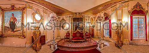 Panorama shot insidePrince Mohamed Ali Palace in Manial