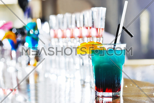 fresh cocktail alcohol drink in night bar