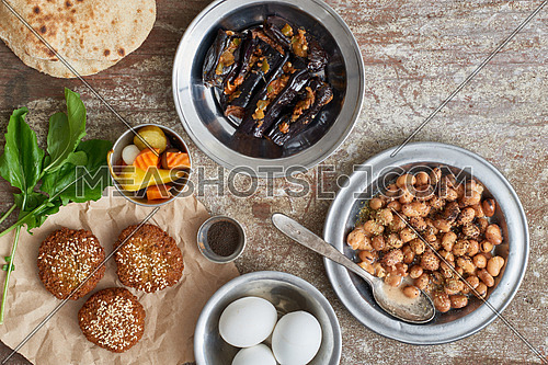 egyptian traditional breakfast Foul alexandrian style with falafel