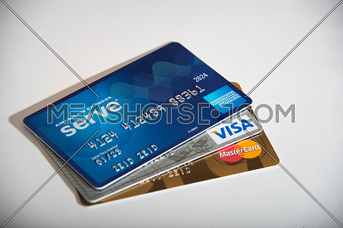 credit cards isolated on white