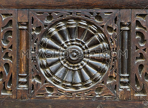 An interleaved wooden ornaments (Arabisk) unit, part of a facade in El Sehemy House, Old Cairo, Egypt