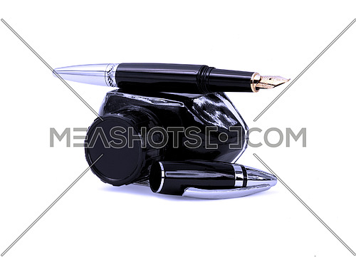 fountain pen and black ink bottle isolated on white background blue filter