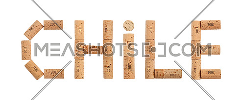 Word CHILE shaped by natural wooden red wine bottle corks of different vintage years isolated on white background