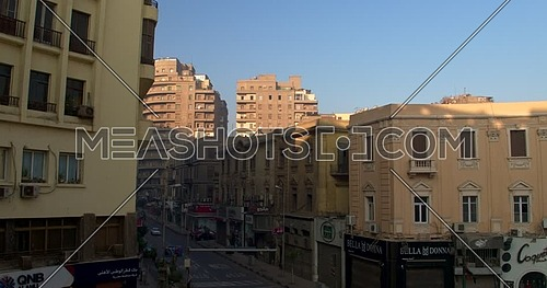 Fly over shot Drone for Street  in Cairo Downtown at early morning