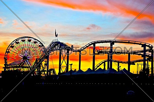 fairy wheel and roller coaster at santa Monica pier California, USA