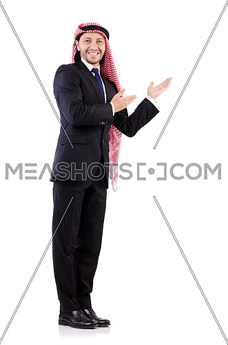 Arab man in positive concept isolated on white