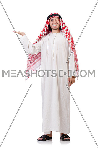 Arab man  holding hands isolated on white