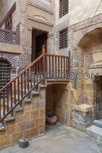 Facade of ottoman historic Beit El Set Waseela building (Waseela Hanem House), located near to Al-Azhar Mosque in Darb Al-Ahmar district, Old Cairo, Egypt
