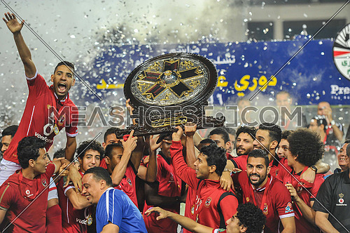 Egypt's Al Ahli club, led by Hossam Al Badri, received the Premier League Shield for this season 2016-2017, following the draw with Enppi 2/2 in their match at Petro Sport Stadium on 24 june 2017, in the 32nd round of the league championship