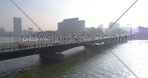 Tracking shot Drone for Kasr Al Nile Bridge in Cairo Downtown at Day