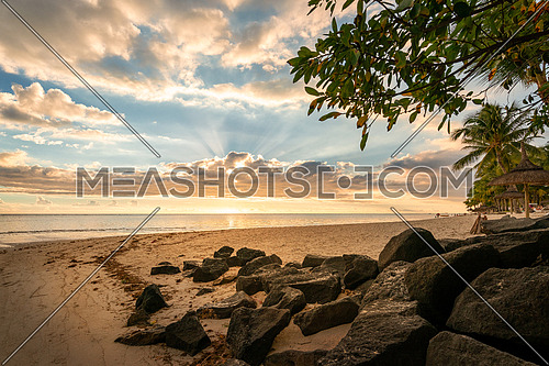 Flic en Flac beach at sunset, Mauritius island