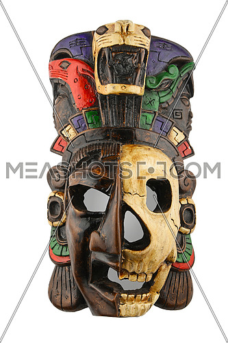 Mexican Mayan Aztec ceramic painted mask with skull isolated on white