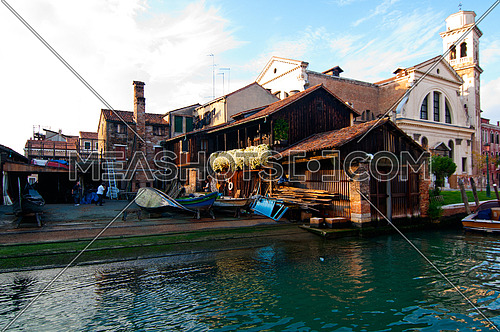 """San trovaso """"squero """" in Venice Italy is the place where gondolas and other boat are build and repaired"""