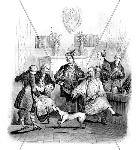 The Matinee of a nobleman, vintage engraved illustration. Magasin Pittoresque 1842.