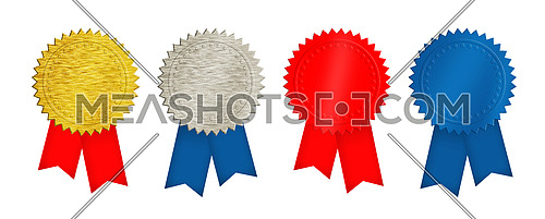 Set of four seal stamps, achievement and award badges (brushed metal gold, silver, blue and red) with double ribbons isolated on white background
