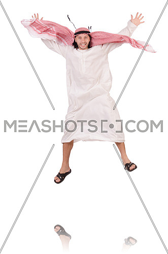 Jumping arab businessman isolated on the white
