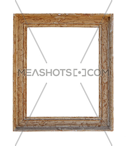 Vintage old antique pastel beige and brown painted rectangular picture frame with cracked paint isolated on white, close up