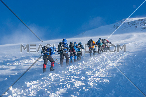 A group of alpinists on their way to the Elbrus