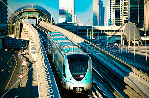Dubai Metro traveling on the rail track top shot 18 December 2015