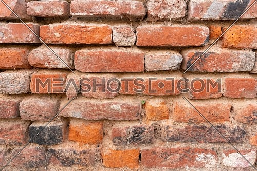 Orange red brick wall pattern. Orange brick texture.