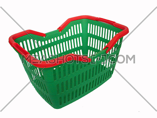 green shopping cart isolated on white background