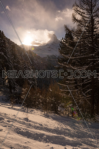 mountain matterhorn zermatt switzerland  with fresh snow on beautiful winter day