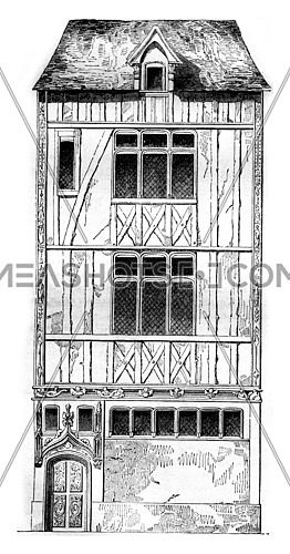 House of Jouvenet in Rouen, vintage engraved illustration. Magasin Pittoresque 1842.