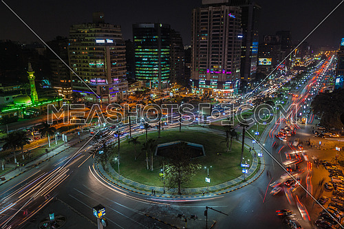 Long shot for traffic in Moustafa Mahmoud Square at Cairo at Night