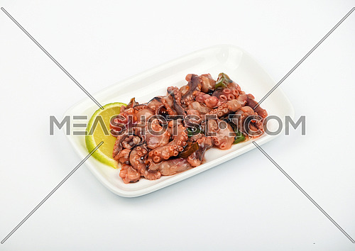 Seafood octopus cuttlefish marinated salad snack with souse on white dish plate over white background, high angle view