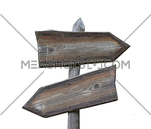 Old vintage road signpost with two wooden planks blank copy space arrows different directions, left down and right, isolated on white, low angle side view