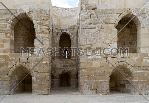 Ruins of old wall with arched cavities at the citadel of Alexandria, Egypt