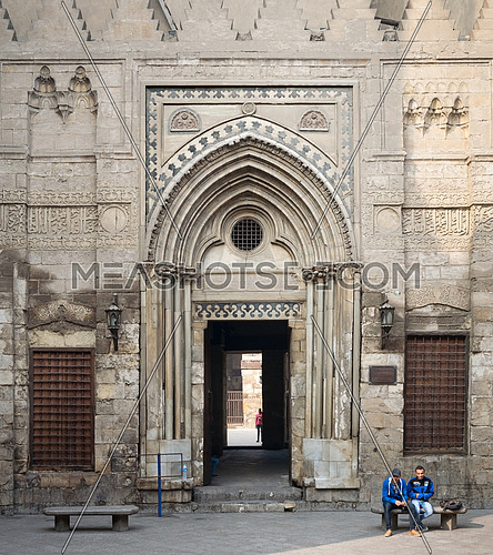 Entrance of the ological school and Mausoleum of Sultan Qalawun in egypt