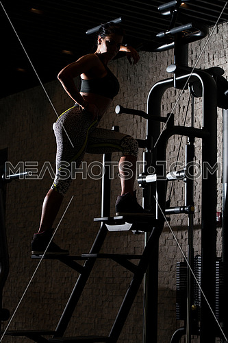 Portrait Of A Sexy Sporty Latin Woman In The Gym With Exercise Equipment