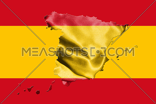 Map Of Spain With Spanish Flag 3D illustration