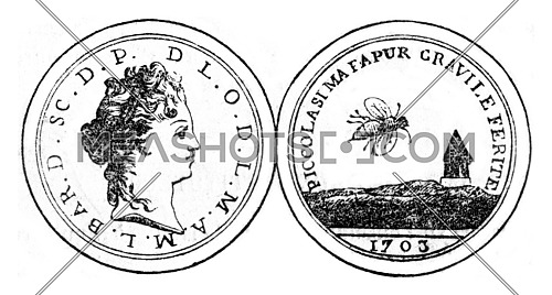 The order of the honey bee, vintage engraved illustration. Magasin Pittoresque 1845.