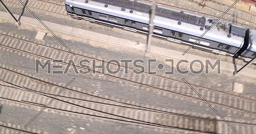 Chase Shot from Drone for revealing Metro moving in cairo at day